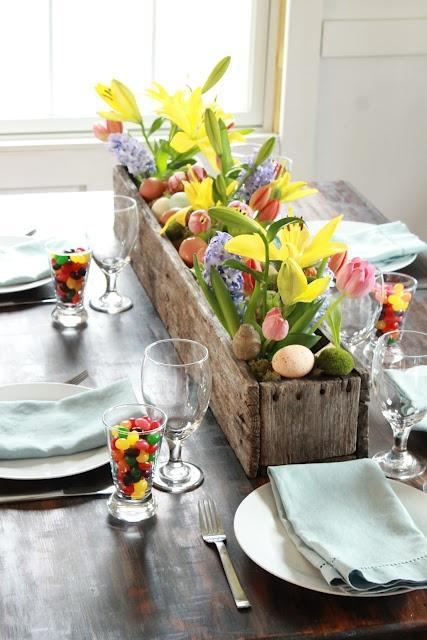 Flower table centerpiece - made of fresh spring tulips