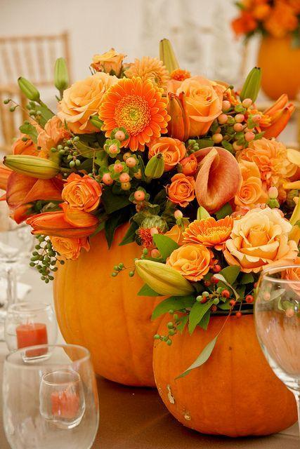 Flowers in pumpkins - they make great Halloween decor