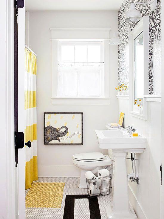 French bathroom in white and yellow