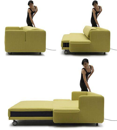 Green Italian sofa - can be stretched to bed