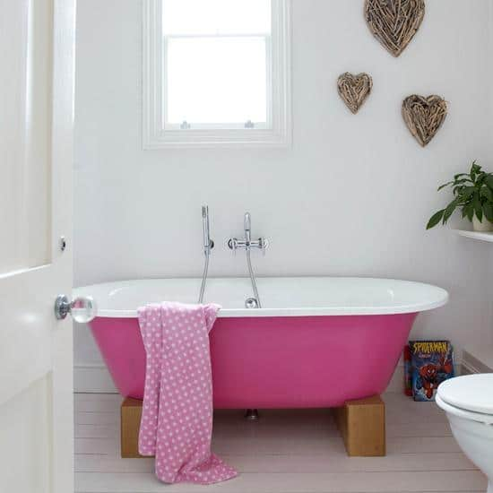 Heart decals placed in the apartment bathroom