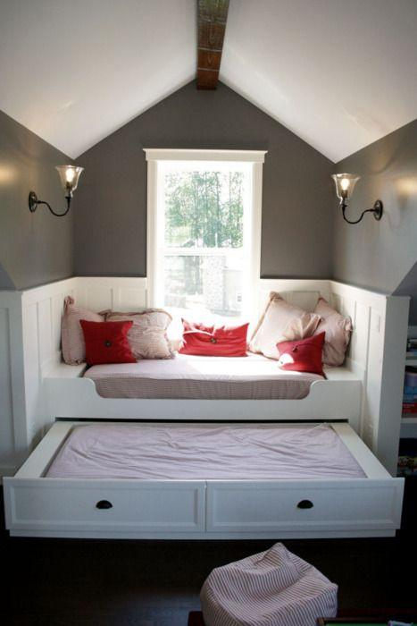 Home attic bedroom - with tiny flexible bed