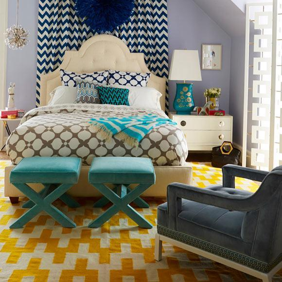 Home decor - creative bedroom design with yellow graphic rug