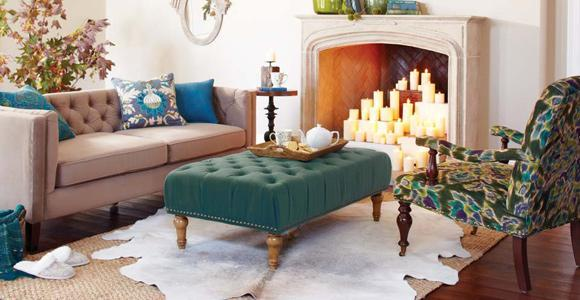 Home decor - cyan ottoman with flower patterned armchair