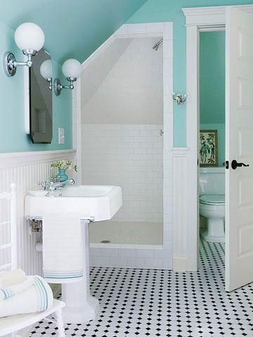 House bathroom with blue walls