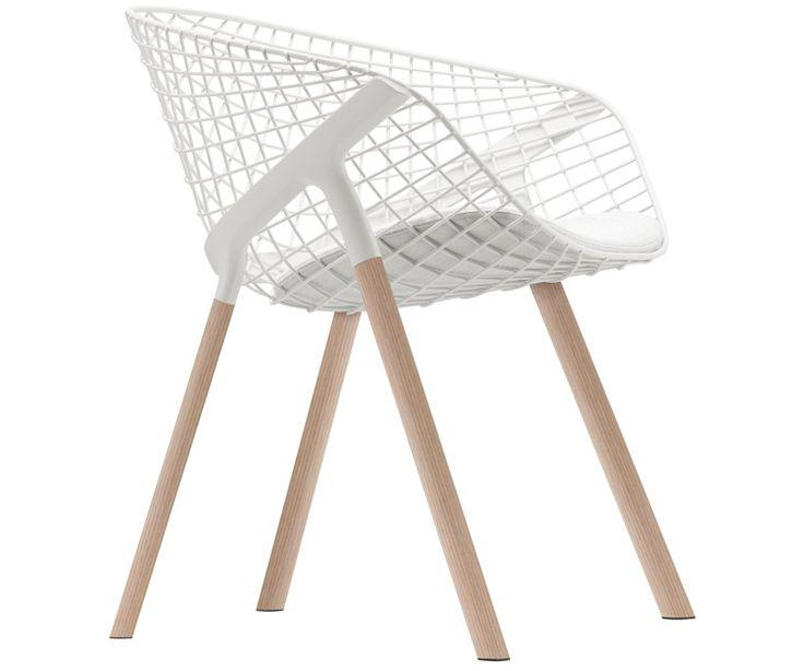 Italian chair - white modern design with wood legs