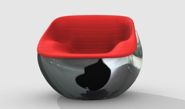 Italian concept design - modern chair with red surface