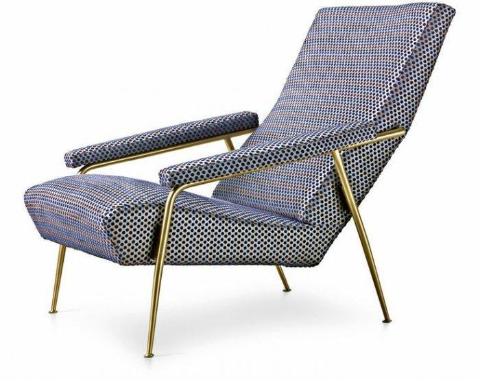 Italian lounge chair - with dot patterned upholstery