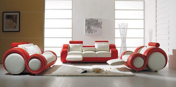 Superbe Italian Modular Sofa   In Red And White Colors