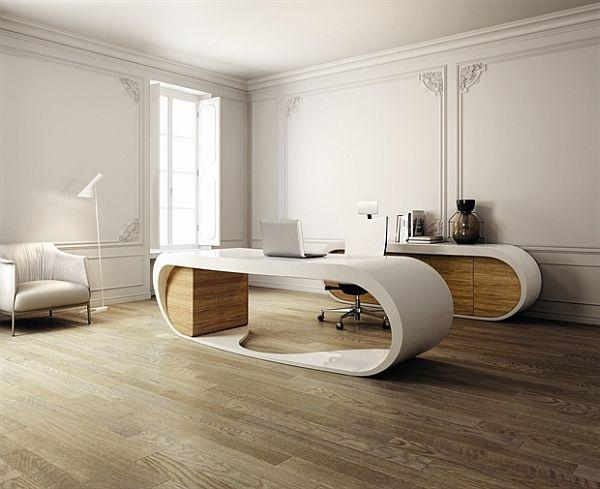 Italian office desk - with contemporary oval shape