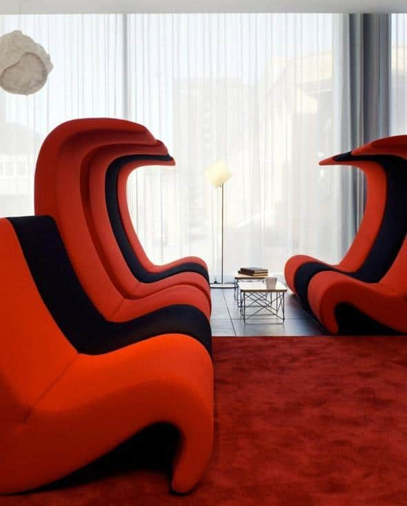 Italian red sofa - with modular design