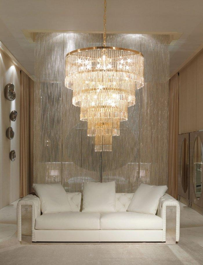 Italian white sofa - with classic crystal chandelier above it