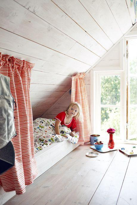 Kid's attic room - with small bed for children