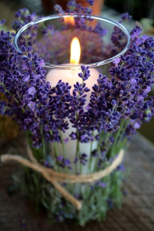 Lavander candleholder - made of sticks of lavander and a glass