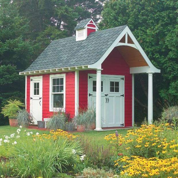 Little Cottage Shed with red painted facade