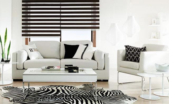 Living room interior in white with black accents and details