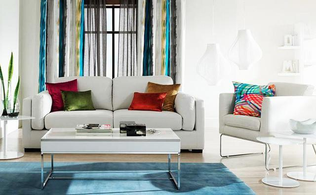 Living room interior with blue and green accents