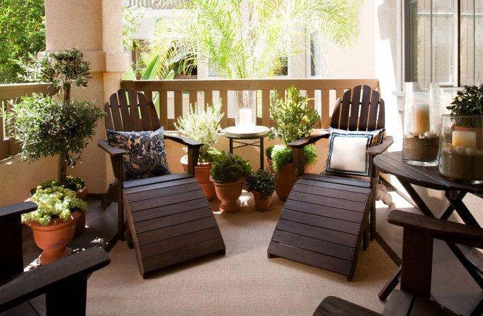 Lounge chairs on the balcony