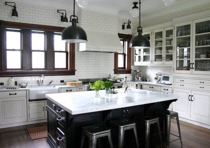 Luxurious eclectic kitchen - in white and brown colors