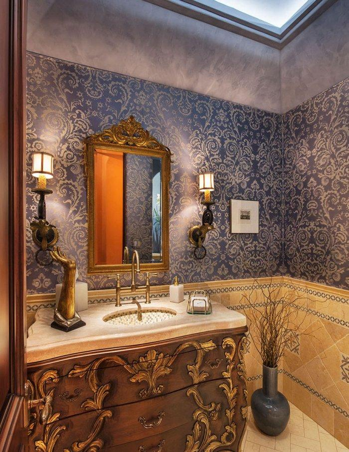 Luxurious traditional bathroom vanity - with ornated frame and chests