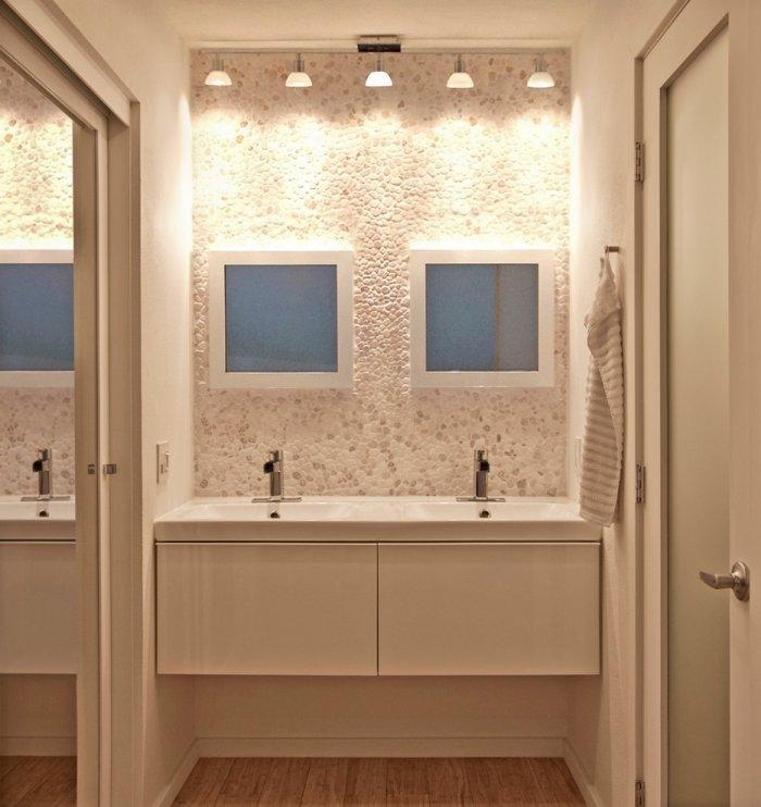 Modern small bathroom - with two contemporary sink faucets