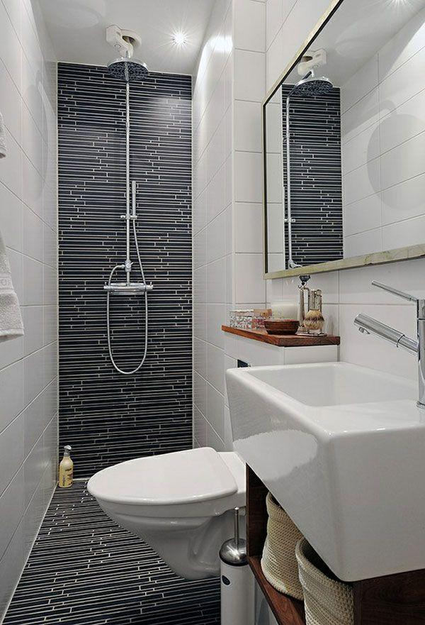 Modest bathroom in white and black