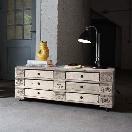 Palette chest of drawers - in an industrial home design