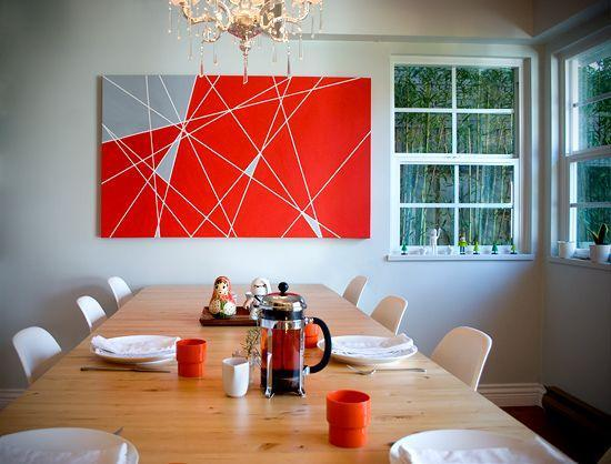 Red abtract painting - used in the dining room