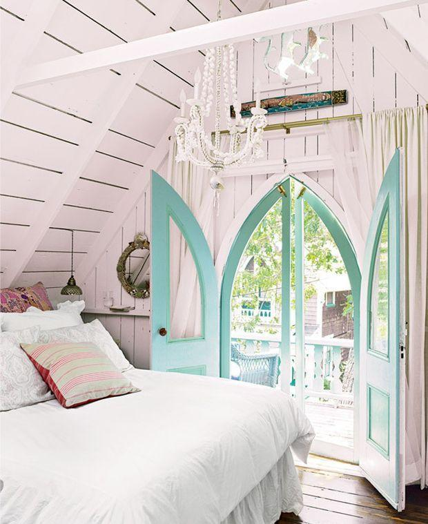 Shabby Chic Attic Bedroom With Pink Walls And Turquoise