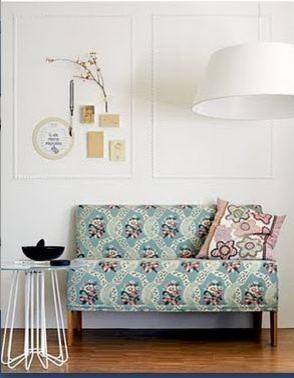 Shabby chic sofa - with Scandinavian patterned upholstery
