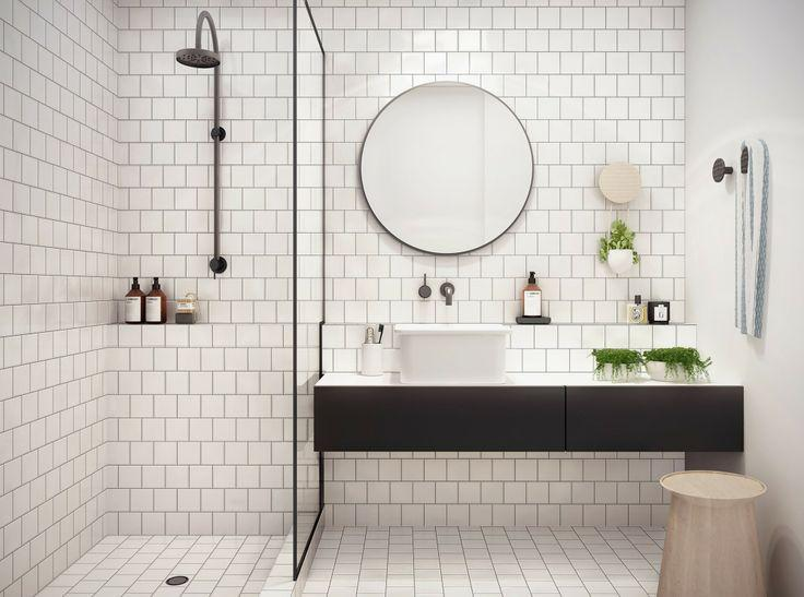 Small white tiles - for vintage look