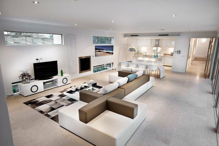 Stylish white living room in a coastal home in Australia