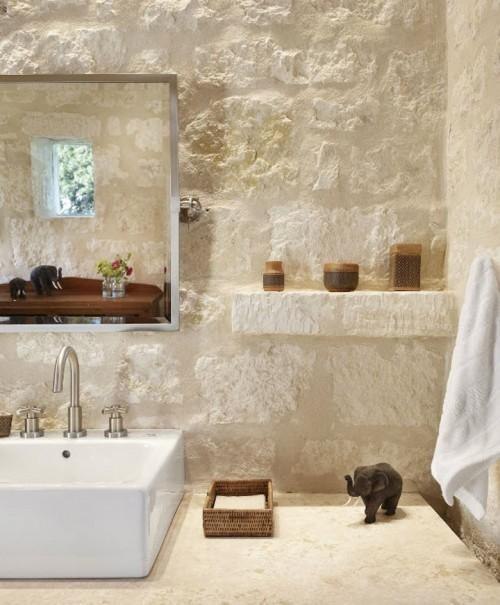 Summer Villa - bathroom with stone walls and modern sink