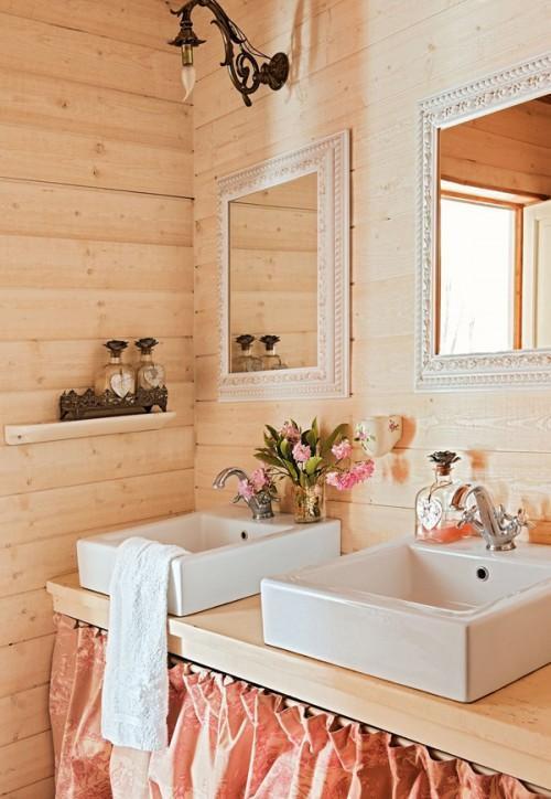 Summer villa - beautiful feminine bathroom with wooden walls