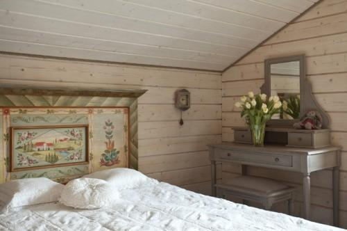 Summer villa - bedroom design with vintage accents like the old-looking desk