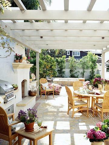 Summer villa - pergola in white with patio furniture