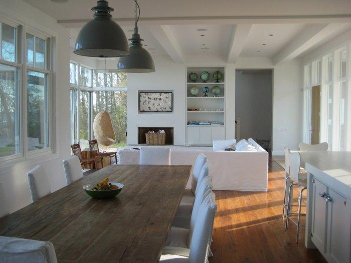 Sunny living and dining room - open plan design provides natural illumination