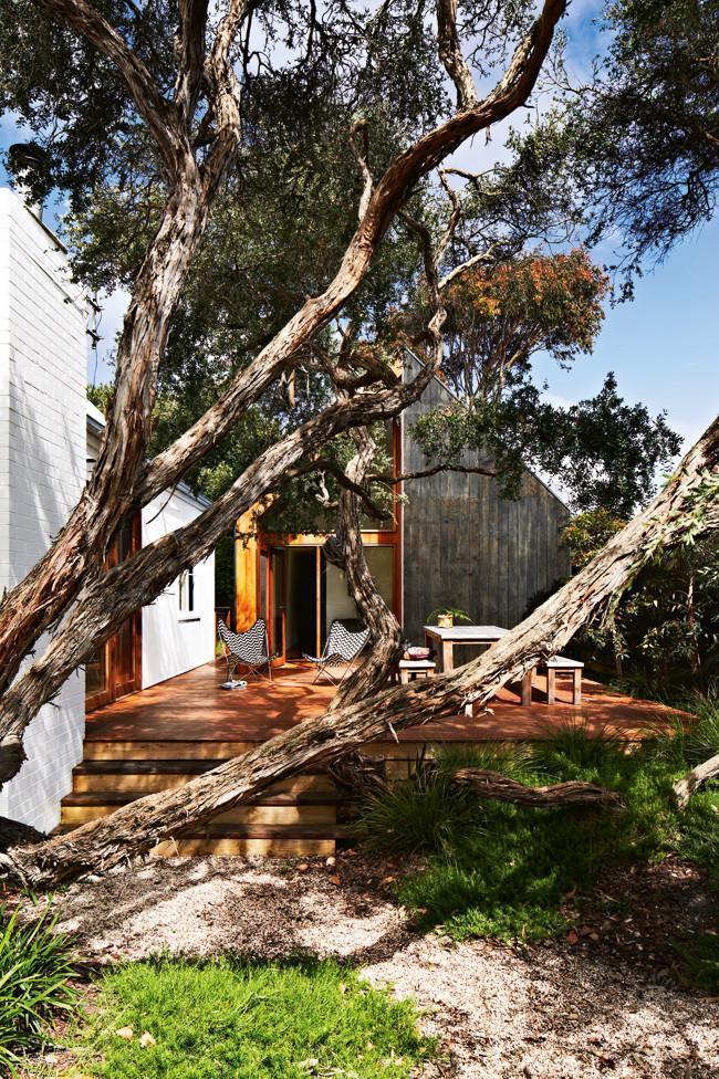Sunny outdoor front wooden deck