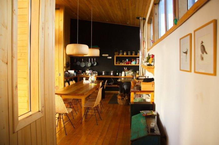 The dining room and kitchen area