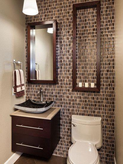 Tiny bathroom in brown color