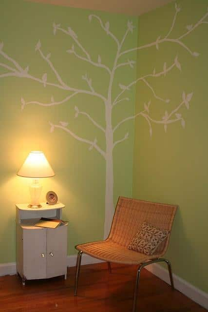 Tree wall decal - used in the corner of a living room