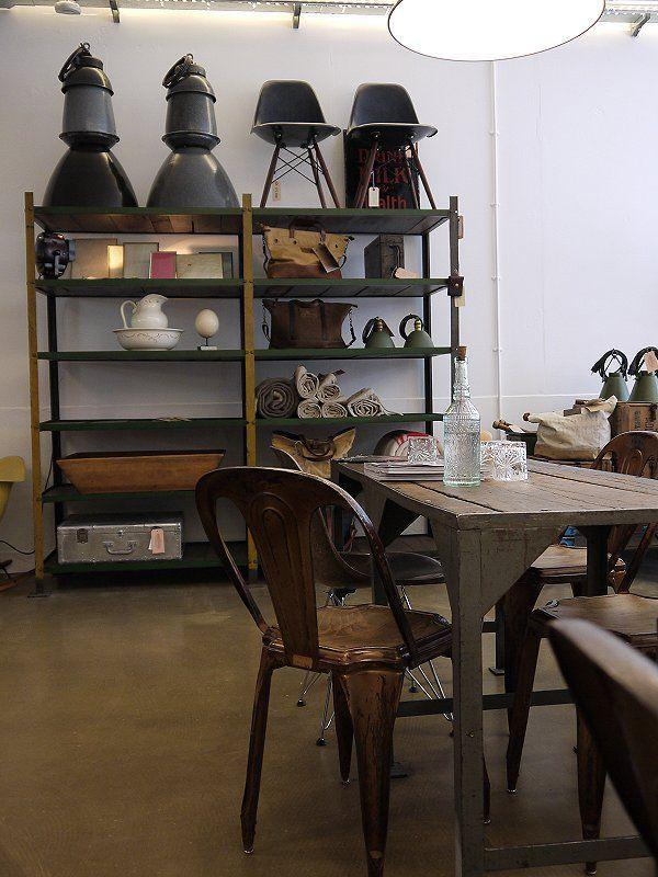 Vintage cafe interior - with wood table and chairs