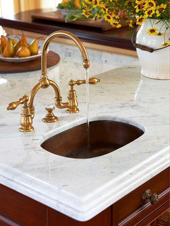 Vintage countertops - with copper sink faucet