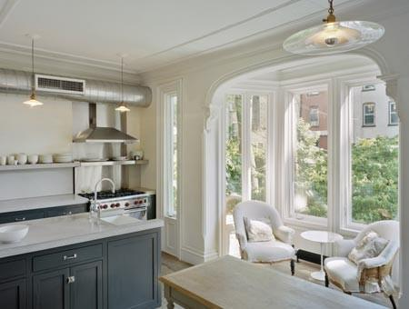 White kitchen - with modern pendant and classic cabinets