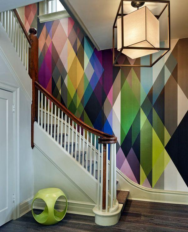 Abstract staircase wall design - with colorful shapes