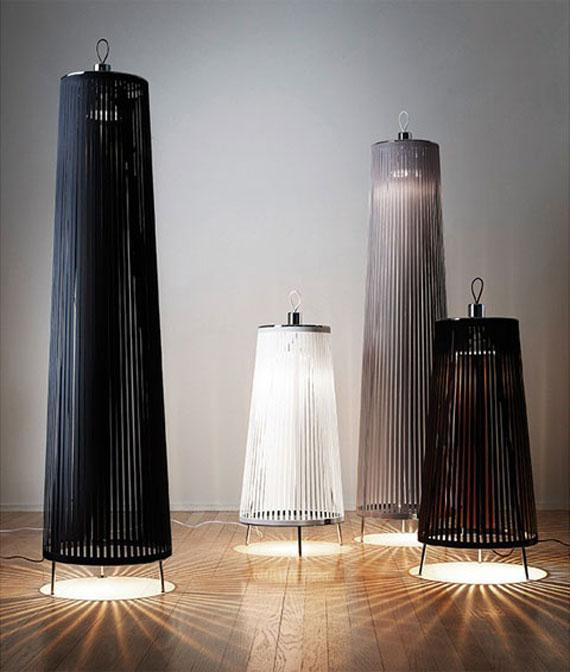 Apartment floor lamps - in black and white colors
