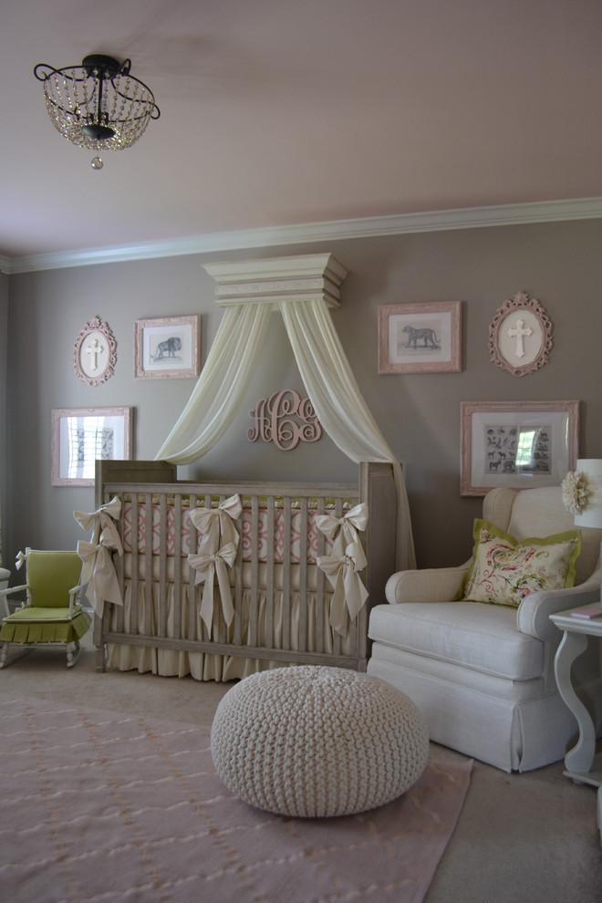 Baby crib - with white decorative curtains