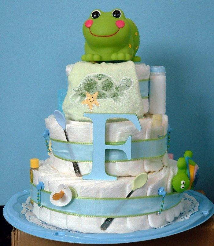 Baby shower cake - with sugar frog