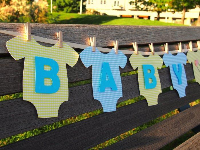 Baby shower garland - made of letters