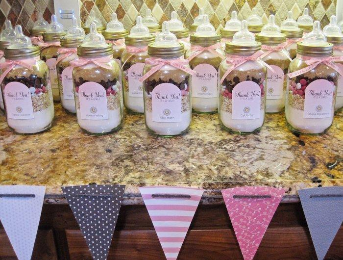 Baby shower hurricane jars - full of treats and candies